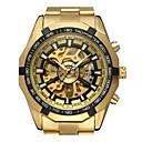 ieftine Ceasuri Bărbați-WINNER Bărbați Ceas Schelet Ceas de Mână Mecanism automat Oțel inoxidabil Auriu 30 m Gravură scobită Analog Clasic Casual Modă Ceas Elegant - Auriu Alb Negru