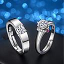 povoljno Prstenje-Muškarci Žene Zaručnički prsten Rings Set Kubični Zirconia 2pcs Srebro Kubični Zirconia Srebrna Vjenčanje Večer stranka Jewelry