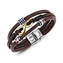 billige armbånd-Herre Wrap Armbånd geometrisk Læder Armbånd Smykker Brun Til Daglig Formel