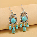 cheap Earrings-Women's Turquoise Drop Earrings Hoop Earrings Long Ladies Vintage Bohemian Boho western style Gemstone Earrings Jewelry Turquoise For Party Casual