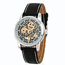 ieftine Ceasuri Bărbați-Bărbați Ceas Schelet Ceas de Mână ceas mecanic Mecanism automat Piele Autentică Negru / Maro Rezistent la Apă Calendar Cronograf Analog Lux Clasic Vintage Casual Modă - Negru Maro Doi ani Durată de