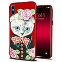 رخيصةأون أغطية أيفون-غطاء من أجل Apple iPhone X / iPhone 8 Plus / iPhone 8 نموذج غطاء خلفي قطة / كارتون / زهور ناعم TPU