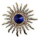 رخيصةأون الستائر-نسائي أزرق ياقوتي كريستال دبابيس عبارة سيدات كلاسيكي كريستال تقليد الماس بروش مجوهرات ذهبي من أجل هدية مناسب للبس اليومي
