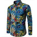 povoljno Men's Winter Coats-Veći konfekcijski brojevi Majica Muškarci - Boho Izlasci / Vikend Lan Cvjetni print Slim Plava / Dugih rukava / Proljeće / Jesen
