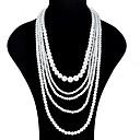 povoljno Komplet nakita-Žene slojeviti Ogrlice Duga ogrlica dame Azijski Moda Ogroman Imitacija bisera Obala Ogrlice Jewelry Za Svečanost Prom Obećanje Cosplay nošnje