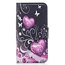 رخيصةأون أغطية أيفون-غطاء من أجل Apple iPhone X / iPhone 8 Plus / iPhone 8 محفظة / حامل البطاقات / مع حامل غطاء كامل للجسم قلب / زهور ناعم جلد PU