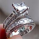 povoljno Smart Wristbands-Žene Zaručnički prsten Belle Ring Dijamant Kubični Zirconia Sintetički dijamant 2pcs Srebro Zelen Prsten od srebrne vuče Tikovina Geometric Shape Četiri drška dame Neobično Jedinstven dizajn