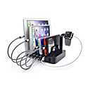 USB Charger 6 Ports Desk Charger Station Switch(es) Stand Dock Charging Adapter