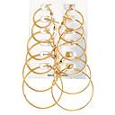 ieftine Cercei-Pentru femei Cercei Rotunzi femei Rock Supradimensionat cercei Bijuterii Auriu / Argintiu Pentru Serată Carnaval 12pcs
