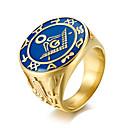 povoljno Prstenje-Muškarci Band Ring Masonski prstenovi Zlato Titanium Steel Titanij Čelik Moda Vojni Rad Ured i karijera Jewelry Prsteni srednje škole mason klasa