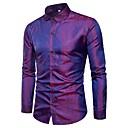 رخيصةأون قمصان رجالي-رجالي مناسب للحفلات / نادي ترف قماش الجاكار قطن قميص, لون سادة نحيل / كم طويل / الربيع