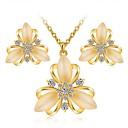 ieftine Seturi de Bijuterii-Pentru femei Zirconiu Cubic Cercei Stud Lănțișor Floare femei Clasic Modă Elegant Zirconiu Diamante Artificiale cercei Bijuterii Auriu / Argintiu Pentru Zilnic