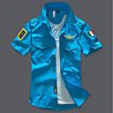 رخيصةأون قمصان رجالي-رجالي عسكري أساسي قميص, لون سادة ياقة مفرودة نحيل / كم قصير / الصيف