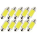 رخيصةأون مصابيح أعمال صيانة السيارات-10pcs 36mm سيارة لمبات الضوء 1 W COB 12 LED ضوء نمرة السيارة / ضوء العمل / أضواء الداخلية من أجل عالمي المحركات العامة كل السنوات