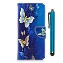 رخيصةأون حافظات / جرابات هواتف جالكسي A-غطاء من أجل Samsung A3 (2017) / A5 (2017) / A8 2018 محفظة / حامل البطاقات / مع حامل غطاء كامل للجسم فراشة قاسي جلد PU / TPU