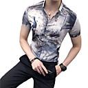 رخيصةأون قمصان رجالي-رجالي نادي النمط الصيني طباعة قميص, حيوان ياقة كلاسيكية نحيل / كم قصير / الصيف