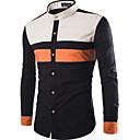 رخيصةأون قمصان رجالي-رجالي بانغك & قوطي طباعة قميص, ألوان متناوبة / مرتفعة / كم طويل