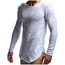 abordables Pulls & Cardigans pour Homme-Tee-shirt Homme, Couleur Pleine - Coton Sports Basique / Chic de Rue Col Arrondi Mince Blanche / Manches Longues / Longue