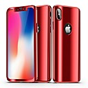 رخيصةأون أغطية أيفون-غطاء من أجل Apple iPhone X / iPhone 8 Plus / iPhone 8 تصفيح / مرآة غطاء كامل للجسم لون سادة قاسي الكمبيوتر الشخصي