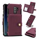 رخيصةأون أدوات الفرن-غطاء من أجل Samsung Galaxy S9 / S9 Plus / S8 Plus حامل البطاقات / ضد الصدمات غطاء خلفي لون سادة قاسي جلد PU