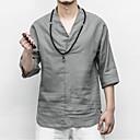 povoljno Prstenje-Majica s rukavima Muškarci - Kinezerije Dnevno / Praznik Lan Jednobojni V izrez Obala / Ljeto