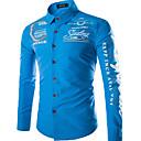رخيصةأون قمصان رجالي-رجالي أساسي قطن قميص, هندسي رقبة طوقية مرتفعة نحيل / كم طويل