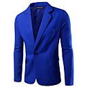 저렴한 남성 자켓 & 수트-남성용 작동 봄 보통 블레이져, 솔리드 노치 라펠 긴 소매 폴리에스테르 베이직 블랙 / 와인 / 밝은 블루 / 비즈니스 캐주얼 / 슬림