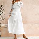 رخيصةأون أقراط-فستان نسائي متموج دانتيل طويل للأرض أبيض لون سادة دون الكتف مناسب للحفلات شاطئ