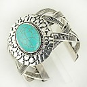 cheap Men's Necklaces-Women's Turquoise Cuff Bracelet Ladies Vintage western style Elizabeth Locke Alloy Bracelet Jewelry Silver For Daily