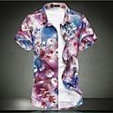 رخيصةأون قمصان رجالي-رجالي شاطئ أساسي قياس كبير - قطن قميص, ورد ياقة كلاسيكية نحيل / كم قصير / الربيع / الصيف