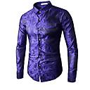 povoljno Muške košulje-Veći konfekcijski brojevi Majica Muškarci - Luksuz / Kinezerije Dnevno Cvjetni print Plava / Dugih rukava