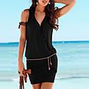 رخيصةأون خلخال-فستان نسائي ثوب ضيق أساسي التفاف قصير جداً أسود لون سادة V رقبة شاطئ / مثير