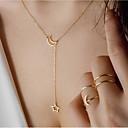 ieftine Colier la Modă-Pentru femei Y Colier Arcan MOON Αστέρι Semilună Simplu Έθνικ Cute Stil Small Crom Auriu Argintiu 35 cm Coliere Bijuterii 1 buc Pentru Zi de Naștere Ieșire