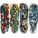رخيصةأون وشم مؤقت-4 pcs ملصقات الوشم الوشم المؤقت سلسلة الرسوم المتحركة الفنون الجسم ذراع