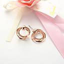 povoljno Ženski satovi-Sitne naušnice Twist Circle dame Jednostavan Europska Moda Naušnice Jewelry Rose Gold Za Dnevno