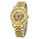 رخيصةأون كماشة-CADISEN رجالي ساعة الهيكل ووتش الميكانيكية ياباني ستانلس ستيل الأبيض / ذهبي 50 m مقاوم للماء نقش جوفاء تقليد الماس مماثل ترف هيكل عظمي - ذهبي الذهب / أبيض