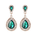 זול עגילים-קריסטל עגילי טיפה ארוך שני אבן טיפה נשים מתוק אופנתי אלגנטית עגילים תכשיטים שחור / ירוק / כחול עבור חתונה מסיבה\אירוע ערב