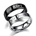 ieftine Inele-Pentru cupluri Inele Cuplu Band Ring Negru Argintiu inox MetalPistol Circle Shape femei Simplu Boyfriend Nuntă Cadou Bijuterii potrivire Și ea Relaţie