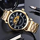 ieftine Benzi Lumină LED-Bărbați Ceas Militar ceas mecanic Japoneză Mecanism automat Piele Autentică Negru / Maro 50 m Cronograf Gravură scobită Cool Analog Lux Casual - Negru / Argintiu Alb / Auriu Alb / Bej