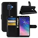رخيصةأون حافظات / جرابات هواتف جالكسي A-غطاء من أجل Samsung Galaxy A6 (2018) / A6+ (2018) / A8 2018 محفظة / حامل البطاقات / قلب غطاء كامل للجسم لون سادة قاسي جلد PU