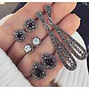 povoljno Naušnice-Žene Viseće naušnice Long Ispustiti dame Vintage Boemski stil Boho Naušnice Jewelry Crn Za Dnevno 4 para / 8pcs
