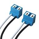 رخيصةأون Switches-ziqiao 2 جهاز كمبيوتر شخصى h7 لمبة المصباح مأخذ مأخذ توصيل قاعدة مصباح السيارة السيراميك المكونات - لون عشوائي