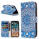 رخيصةأون أغطية أيفون-غطاء من أجل Apple iPhone X / iPhone 8 Plus / iPhone 8 محفظة / حامل البطاقات / مع حامل غطاء كامل للجسم ماندالا نمط / زهور قاسي جلد PU