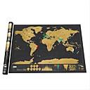 رخيصةأون ديكورات خشب-محو خريطة العالم الأسود من الصفر خريطة العالم خريطة شخصية السفر لغرفة الخريطة