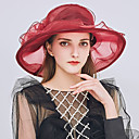 ieftine Pălării Femei-Pentru femei Kentucky Derby Peteci Bufantă Petrecere Nuntă,Dantelă-Clop Floppy Paie Căciulă Toate Sezoanele Gri Mov Roșu Vin