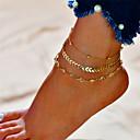 ieftine Bijuterii de Corp-Pentru femei Brățară Gleznă picioare bijuterii Multistratificat Alphabet Shape Plin de graţie femei Modă Multistratificat Brățară Gleznă Bijuterii Auriu / Argintiu Pentru Cadou Zilnic Costume Cosplay