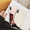 رخيصةأون أغطية أيفون-غطاء من أجل Apple iPhone X / iPhone 8 Plus / iPhone 8 ضد الصدمات / مرآة غطاء خلفي لون سادة قاسي الكمبيوتر الشخصي