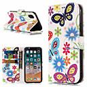 رخيصةأون أغطية أيفون-غطاء من أجل Apple iPhone X / iPhone 8 Plus / iPhone 8 محفظة / حامل البطاقات / مع حامل غطاء كامل للجسم فراشة / زهور قاسي جلد PU