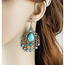 povoljno Ženski satovi-Žene Viseće naušnice Long Kruška dame Azijski Osnovni Moda Naušnice Jewelry Zelen / Plava Za Dnevno Spoj 1 par