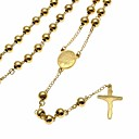 cheap Men's Necklaces-Men's Pendant Necklace Y Necklace Stylish Beads Rosary Chain Cross Faith Crucifix Stylish European Trendy Steel Stainless Gold 75 cm Necklace Jewelry 1pc For Street Club